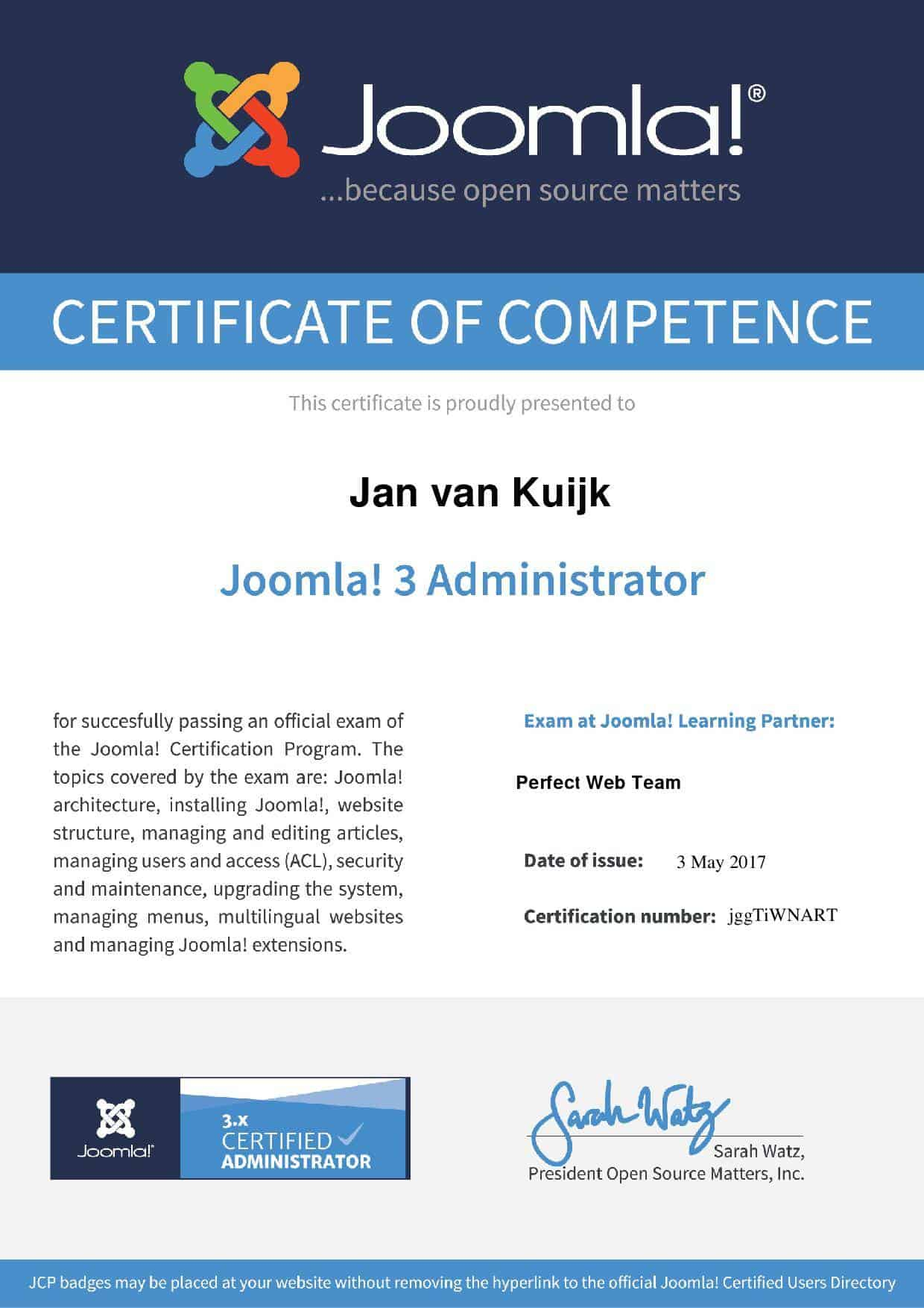 Joomla 3 Administrator Certificate page 001