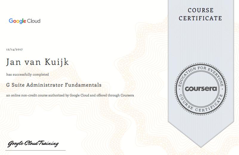 Certificate G Suite Administrator Fundamentals